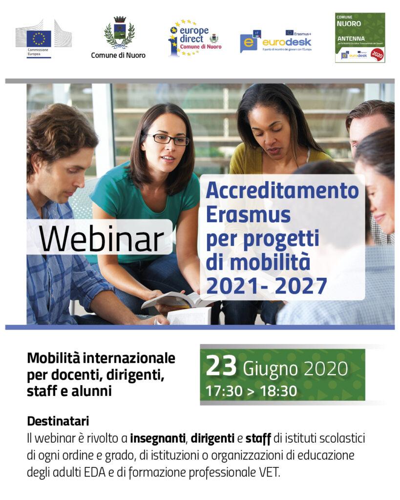 """Evento online – Webinar: """"Accreditamento Erasmus – progetti di mobilità 2021-2027"""""""