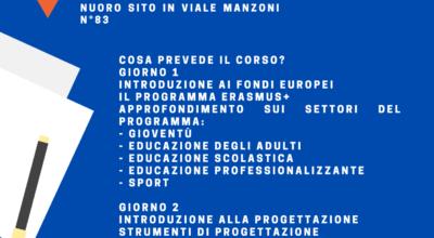 Corso base di progettazione europea: a Nuoro dal 21 al 23 luglio.